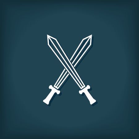 Crossed Swords Icon. Flat Style Vector Illustration