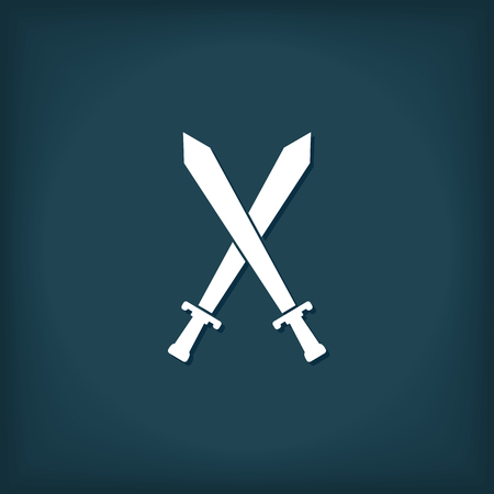 tactics: Crossed Swords Icon. Flat Style Vector Illustration