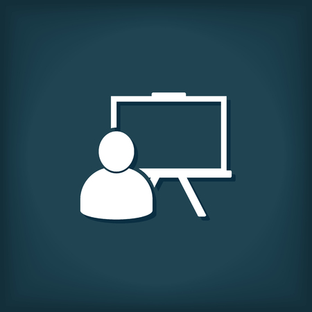 Lehrer Präsentation Training Icon. Flache Stil Vektor-Illustration