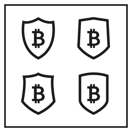 Set of Shield Icons With Bitcoin Sign