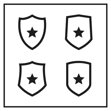 Set of Shield Icons With Stars
