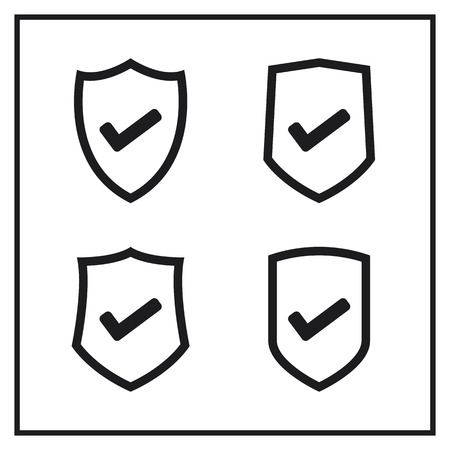 Set of Shield Icons With Check Mark