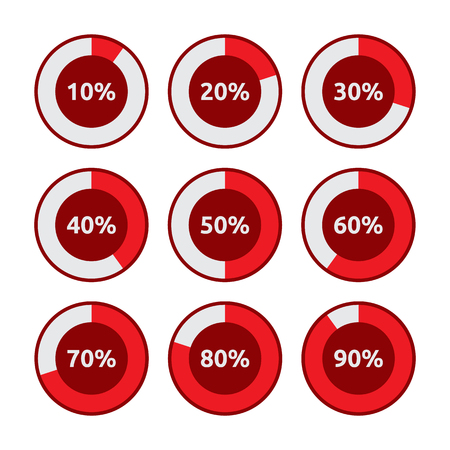 Set of Circle Diagram Pie Charts with Different Percentage Level for Infographic Elements