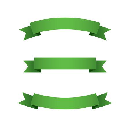 Set of Green Ribbons  Illustration