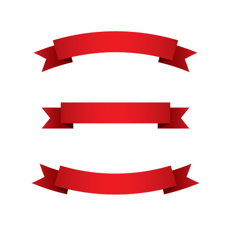 Set of Red Ribbons  Illustration
