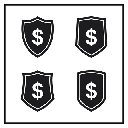 Set of Shield Icons With Dollar Sign 向量圖像