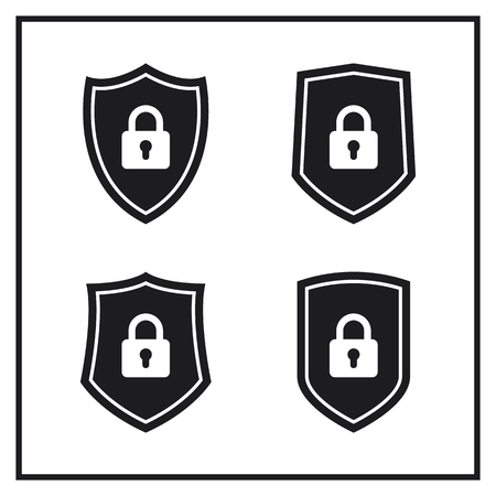 Set of Shield Icons With Lock