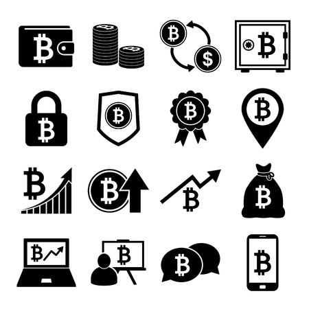 Bitcoin Icons Set 向量圖像