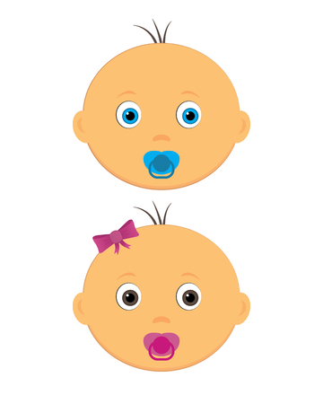 Baby Boy And Girl Illustrations