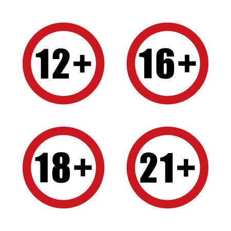 Age Restriction Signs Adults Content Icon