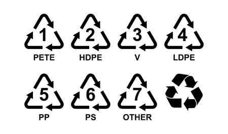 Verschillende soorten kunststof Recycling symbolen Vector iconen Stockfoto - 98385209
