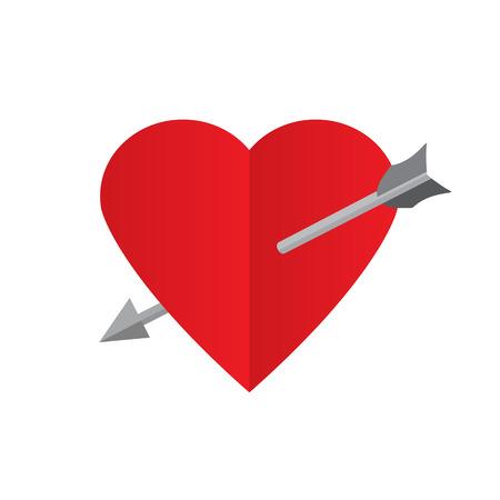 Arrow Pierced Heart Flat Icon Vector illustration. 向量圖像