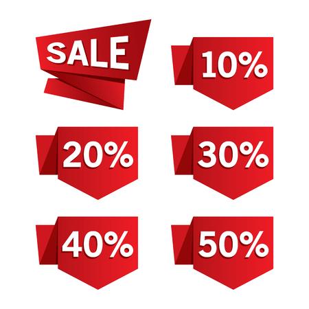 Red Sale Discount Labels Illustration