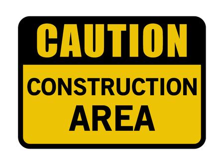 Caution Construction Area Sign Vector illustration.