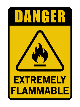 Danger Extremely Flammable Vector Black And Yellow Sign