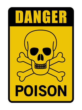 Danger Poison Caution Sign Black And Yellow Stock Illustratie