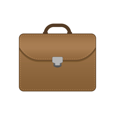 Business Briefcase Brown Vector Flat Illustration - Vector 版權商用圖片 - 119106180