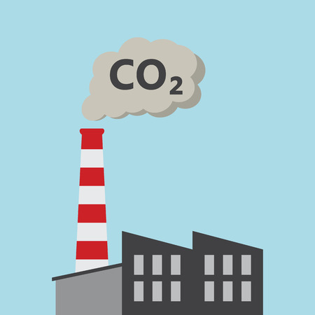 Factory Power Plant Emitting CO2 Pollution - Vector