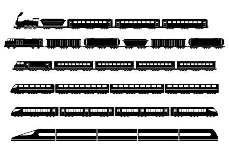 Train Rail Railway Metro Vector Icons Set 向量圖像