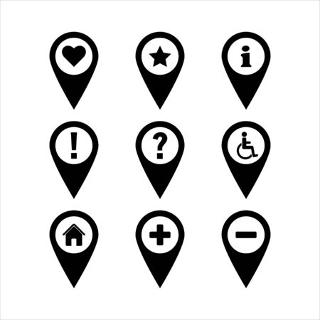 Map Pins Pointer Icons Vector Illustration