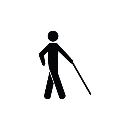 Blind Person Man Vector Icon