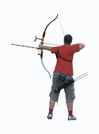pulleys: Isolated archer taking aim Stock Photo