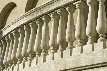 close up detail of old stone ballustrade.