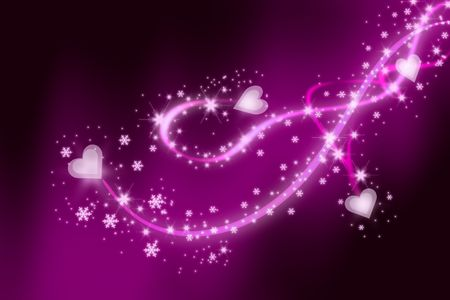 lighted: St Valentines background with hearts and swirls. Stock Photo