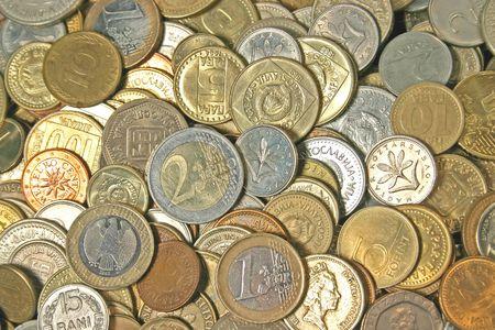 investmen: close up shot of diferent old coins.