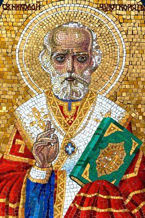 Detail of St.Nikolas mosaic icon on tombstone.