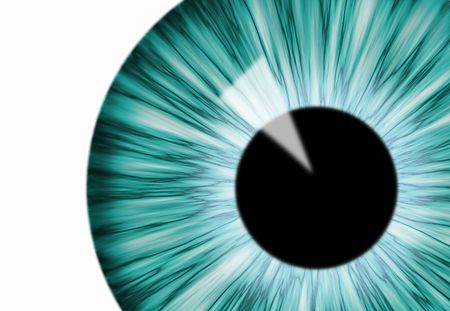 blue computer generated eye over the white