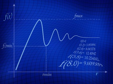 Graph of mathematical function in blue background. Stock Photo - 2978886