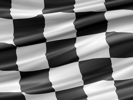 balck and white checkered racing flag waiving detail