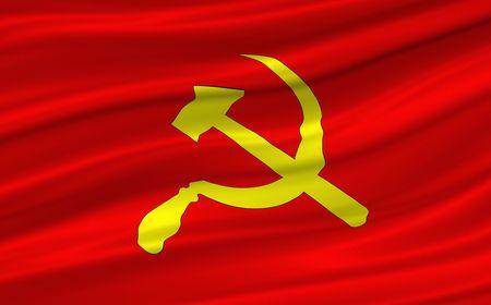 scythe: martillo y guada�a en bandera roja ondeando  Foto de archivo