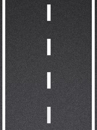 Computer generated road with white lines and asphalt texture.
