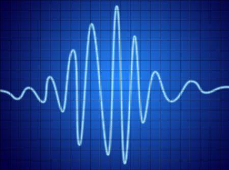señal de audio en pantalla azul. comunicación y electrónica.