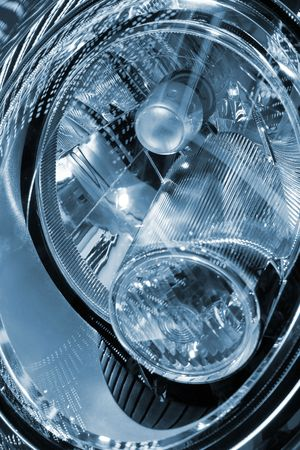 head lights of a car , close up view. photo