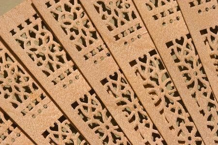 close up view on chinese wooden fan  Stock Photo