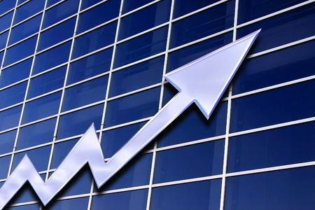 stock exchange  graph on a blue glass background
