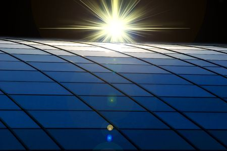 a bright star over the sollar panel.