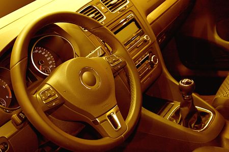 yellow toned interior of a modern car Stock Photo