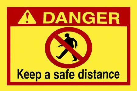 Keep a safe distance warning sign. Stock Photo