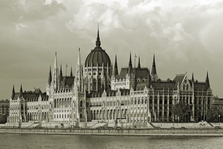 Parlament: The Hungarian Parlament building , landmark of Budapest in black and white.