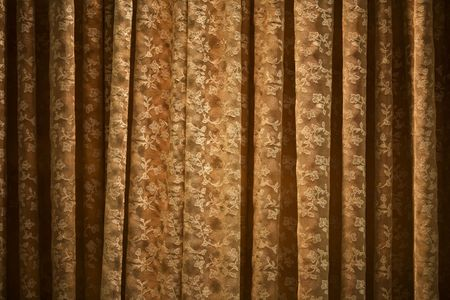 Decorativ retro  window curtain close up.
