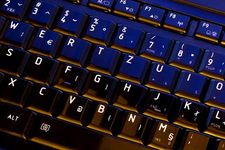 Keyboard of a notebook computer.Letters  and numbers . photo