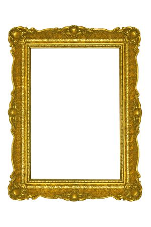 Golden plated  picture frame isolated on white. Stock Photo