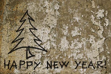 Feliz a�o nuevo de graffiti en la pared de grunge.  Foto de archivo - 8061775