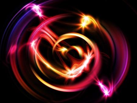 Glowing purple light rings  in motion vortex.