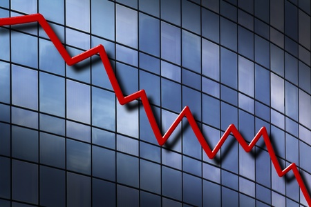 3D graph showing decrease in profits or earnings.  Stock Photo