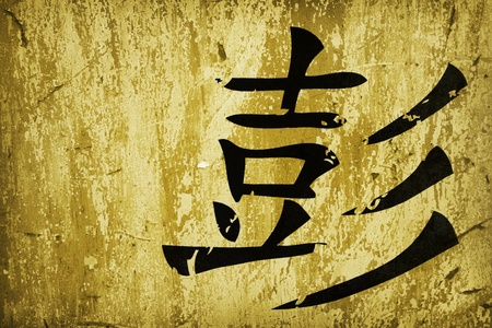 chinese calligraphy symbol on grunge background surface photo